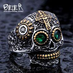 Beier 멋진 남성 고딕 양식의 두개골 조각 반지 스테인레스 스틸 높은 품질의 세부 바이커 두개골 보석 소년 br8-327