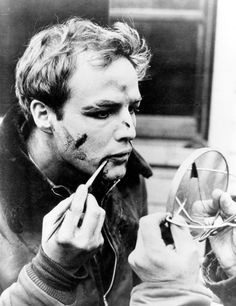Marlon Brando, On the Waterfront (1954)  Real men apply their own make-up.