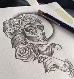 Dia de los muertos drawing by Nina, @tattoo.nina.noa