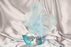 Turquoise Masquerade Masks with Feathers   Handheld Masks - Masks on Sticks - Feathered Masks