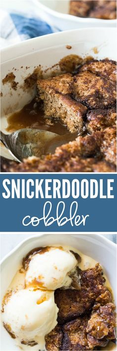 Snickerdoodle Cobbler. This fun Fall dessert is loaded with cinnamon and creates it's own caramel sauce while it bakes!