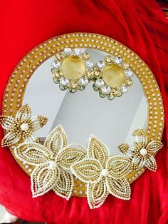 Thali Decoration Ideas, Diy Diwali Decorations, Festival Decorations, Diwali Craft, Diwali Diy, Art N Craft, Craft Work, Engagement Ring Platter, Marriage Decoration