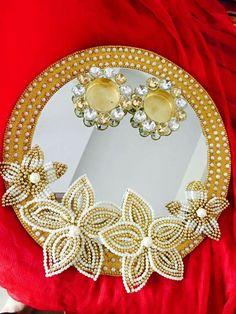 Ring platter Thali Decoration Ideas, Diy Diwali Decorations, Indian Wedding Decorations, Festival Decorations, Diwali Diy, Diwali Craft, Engagement Ring Platter, Marriage Decoration, Wedding Plates