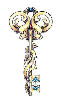 art nouveau key tattoo