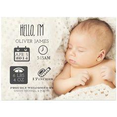 Newborn Stats Birth Announcements