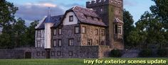 Exterior iRay Physically Based Rendering, Rendering Engine, Arch, Castle, Exterior, Mansions, House Styles, World, Presentation
