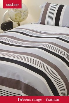 """Our easy to style """"Nathan"""" set blends in any room.With its white clip on top sheet there is no more bed making just a stylish look everyday!"""