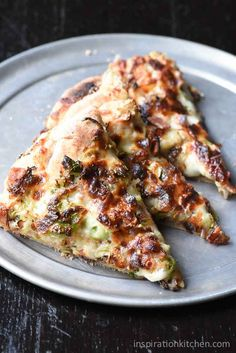 This Garlic Brussels Sprouts Bacon Pizza is packed with flavor - garlic, brussels sprouts, shallots, bacon - it's simple to make and done in minutes!