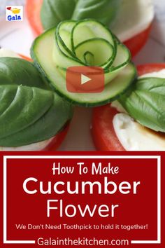 Easy Cucumber Flower Garnish This technique is so useful and easy to make a food garnish flower from cucumber. We don't need any toothpick to hold it together! Check out also my website page 13 easy cucumber garnish ideas. Fruit And Vegetable Carving, Veggie Tray, Food Crafts, Diy Food, Food Tips, Food Food, Cucumber Flower, Creative Food Art, Food Garnishes
