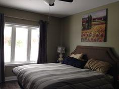 Master bedroom. Paint: Benjamin Moore -Herbes de Provence. Headboard Homesense. Furniture: IKEA - Hemnes. Curtains: Urban Barn