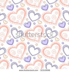 Seamless pattern with doodle stylized hearts. Hand drawn vector illustration - stock vector