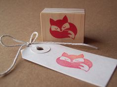 Sleeping Fox Rubber Stamp , Curled Up Fox , Woodland Autumn Fall Forest Stamp