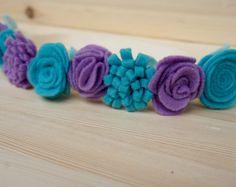 Púrpura y verde azulado Flet flores corona, diadema fieltro, fieltro Flores corona de flores, corona de flor de niño, las chicas de corona de flores, corona de flores recién