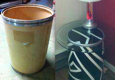 repurposed-cardboard barrel to table. one of my first projects!