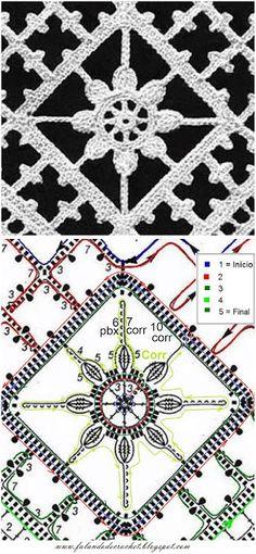 Falando de Crochet - Gráficos: BARRA DE CROCHE SQUARE COM FLOR VINTAGE