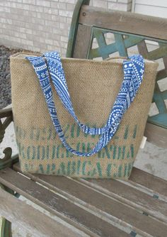Burlap tote coffee bag repurposed green bean coffee sack beach bag carry all recycled by ShaggyBaggy on Etsy