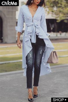 Shop Striped Tied Front Dip Hem Shirt – Discover sexy women fashion at Fascinating Cool Ideas: Woodworking Tools Saw Dust Collection unique woodworking tools cutting boards. Mode Outfits, Chic Outfits, Spring Outfits, Look Fashion, Autumn Fashion, Womens Fashion, Fashion Design, Ladies Fashion, Fashion Styles