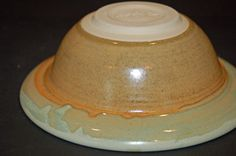 Ceramics and Pottery Bowl Green and Gold Pasta by nhfinestoneware