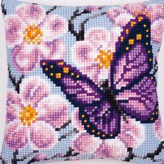 Purple Butterfly - cross-stitch cushion - Vervaco