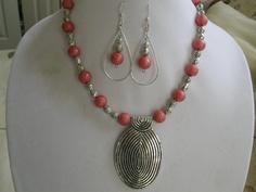 Pewter Pendant Peach Swirl Necklace w/earrings by DesignsbyGlynis, $19.99