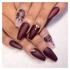 42 Fabulous Burgundy Nail Designs For 2015 ❤ liked on Polyvore featuring beauty products, nail care and nails