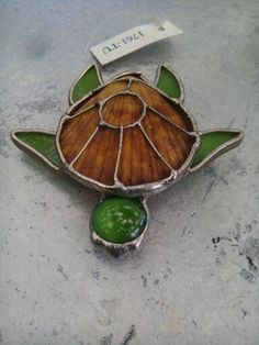 Stained glass turtle with shell back