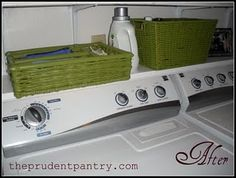 hang low, shallow shelf just above washer and dryer to house frequented items, and hang larger shelf with baskets above for grouped items and less frequently accessed items