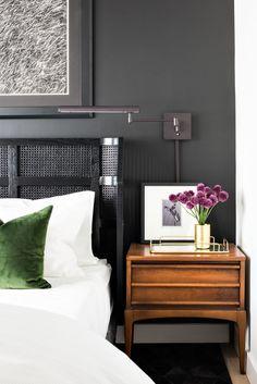 Black walls and black rattan bed Forge — BHDM Design