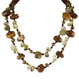 "Necklace with Carlelian, Tiger Eye, Quartz and Mother of Pearl - Sterling Silver Clasp <br /> <br />Dimensions: 40""  Long"