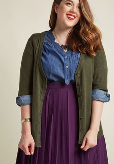 Plus Size Clothing at ModCloth comes in a variety of trendy & unique styles. Shop our selection of plus size fashion dresses, tops & more plus size outfits! Look Plus Size, Plus Size Tops, Plus Size Dresses, Plus Size Outfits, Cute Thanksgiving Outfits, Plus Size Fashion Tips, Shirred Dress, Plus Size Cardigans, Curvy Outfits