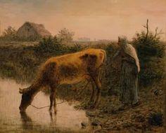 Millet paintings | enlarge painting painting name peasant watering her cow 1863 painting ...