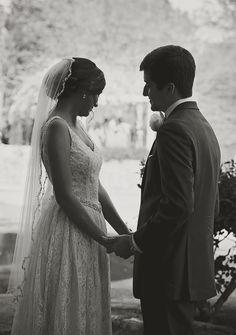 Bride and groom.   First look photo. Black and white.   Live Free Photography -   www.livefreephoto.com  Birmingham, AL, Seaside, FL. Nashville, TN.   Bohemian  Wedding Photography