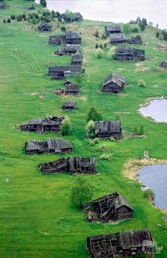 Abandoned villge in Karelia, Russia. Go to this interesting website of strange and tragic ghost towns from all over the world.