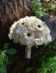 READY TO SHIP Wedding Bouquet Rustic Bouquet Burlap Bouquet