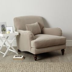 Petersham Armchair Velvet - Silver or Stone from The White Company