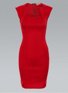 Red Bodycon Dress with Square Panel Front & Zip Back,  Dress, body con dress, Chic...if the occasion arose.