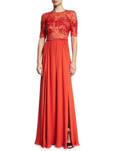 Elbow-Sleeve Embellished Gown, Pumpkin by Jenny Packham at Neiman Marcus.