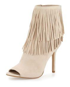 Arizona Fringe Ankle Bootie, Sand, Women's, Size: 39.5B/9.5B, Sand(Nude Suede) - Sam Edelman