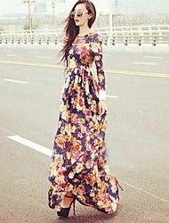 Women's Flower Print Long Sleeve Maxi Dress – USD $ 19.99