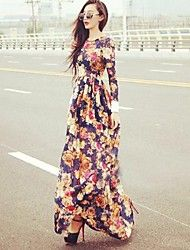 Women's Flower Print Long Sleeve Maxi Dress – USD $ 19.99