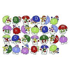 Snowman Alphabet -  Christmas cross stitch pattern designed by Ursula Michael. Category: Alphabets.