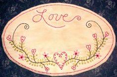Primitive Stitchery Valentine Candle Mat Hearts by thetalkingcrow, $10.00