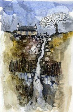 Paul Bailey, Highland burn 6 x 8 inches 2010 Watercolor Landscape, Watercolor And Ink, Abstract Landscape, Landscape Paintings, Watercolor Paintings, Abstract Art, Watercolours, English Artists, Art Plastique