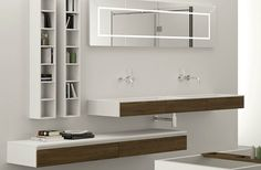 Double washbasin / wall-mounted / rectangular / Corian® TECNO XXL MOMA DESIGN BY ARCHIPLAST