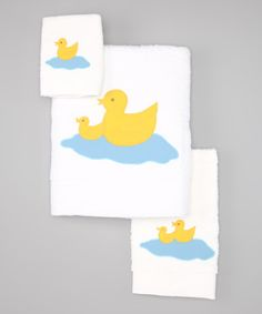 Take a look at this White Baby Ducks Towel Set by Silly Goose on #zulily today!