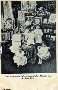 Grand Duchess Maria Anne with five of her daughters. LtoR: Princess Marie Adelaide (standing, later Grand Duchess), Princess Antonia (sitting in front of M.A., later Crown Princess of Bavaria), Grand Duchess Maria Anne, Princess Elisabeth (held), Princess Charlotte (standing, later Grand Duchess), and Princess Hilda (sitting in front of Charlotte) of Luxembourg