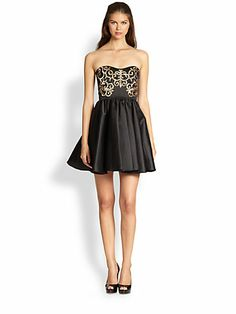 ABS - Bustier Dress - Saks.com $535 Black is Madison's signature color!!