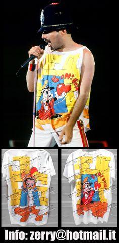"T-Shirt Freddie Mercury Wembley 86 Betty Boop Queen Rare Memorabilia  COLLECTORS' ITEM !   Authentic reproduction of famous T-shirt worn by Freddie Mercury during London leg of ""Magic Tour 1986"""