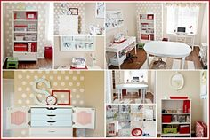 I am loving so many things about this craft room. Especially the polka dot walls. I must have polka dot walls. And the no sew curtain. and the craft cabinet. Craft Room Storage, Room Organization, Craft Rooms, Craft Room Design, Room Interior Design, Interior Ideas, Space Crafts, Home Crafts, Craft Space