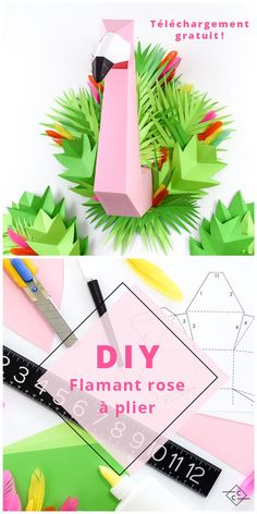 DIY flamant rose en carton téléchargeable decor DIY tropical pliage origami - Carton Carton / Free download, printable pink origami flamingo! Tropical party wall decor!